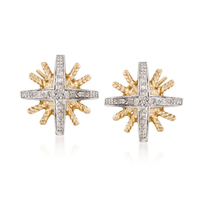 .11 ct. t.w. Diamond Starburst Earrings in 14kt Gold Over Sterling
