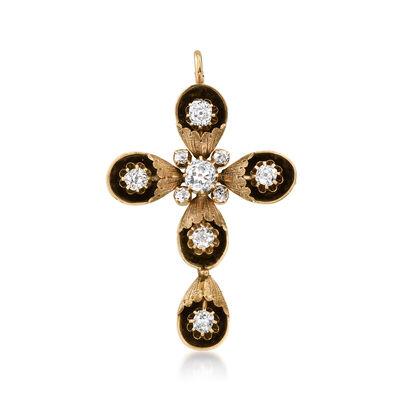 C. 1900 Vintage 3.25 ct. t.w. Diamond Cross Pin/Pendant in 12kt Yellow Gold
