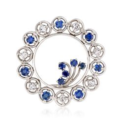 C. 1950 Vintage 1.45 ct. t.w. Sapphire and .50 ct. t.w. Diamond Wreath Pin in Platinum, , default