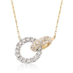 .50 ct. t.w. Diamond Interlocking Circles Necklace in 14kt Two-Tone Gold, , default
