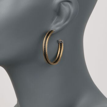 """ALOR """"Noir"""" Yellow and Black Stainless Steel Cable Hoop Earrings With 18kt White Gold. 1 5/8"""", , default"""