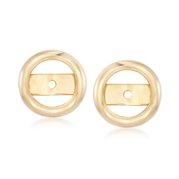 14kt Yellow Gold Bezel Earring Jackets, , default