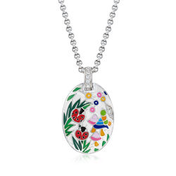 "Belle Etoile ""Ladybug"" White Enamel and .12 ct. t.w. CZ Pendant in Sterling Silver, , default"