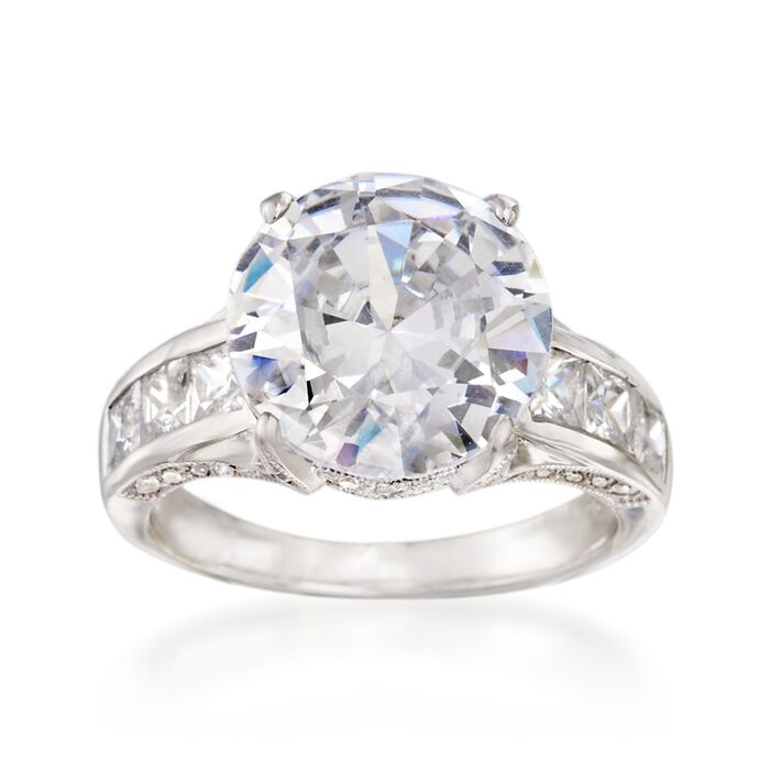 6.72 ct. t.w. CZ Ring in Sterling Silver. Size 9, , default