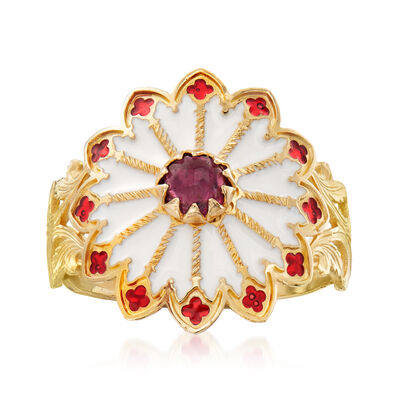Italian .60 Carat Garnet and Enamel Rose Window-Inspired Ring in 14kt Yellow Gold