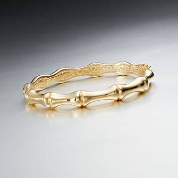 Italian 18kt Yellow Gold Over Sterling Silver Bamboo Bangle Bracelet, , default