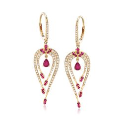 .50 ct. t.w. Ruby and .49 ct. t.w. Diamond Earrings in 14kt Yellow Gold , , default