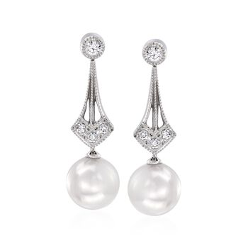 Mikimoto 6.5mm A+ Akoya Pearl Drop Earrings With Diamond Accents in 18kt White Gold , , default
