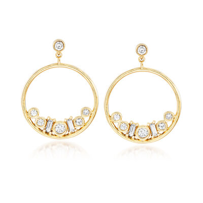 .50 ct. t.w. Diamond Circle Drop Earring Jackets with Diamond-Accented Studs in 14kt Yellow Gold, , default