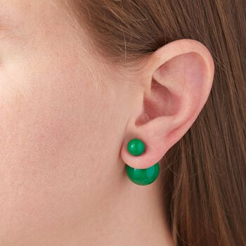 Green Simulated Onyx Front-Back Earrings in Sterling Silver , , default