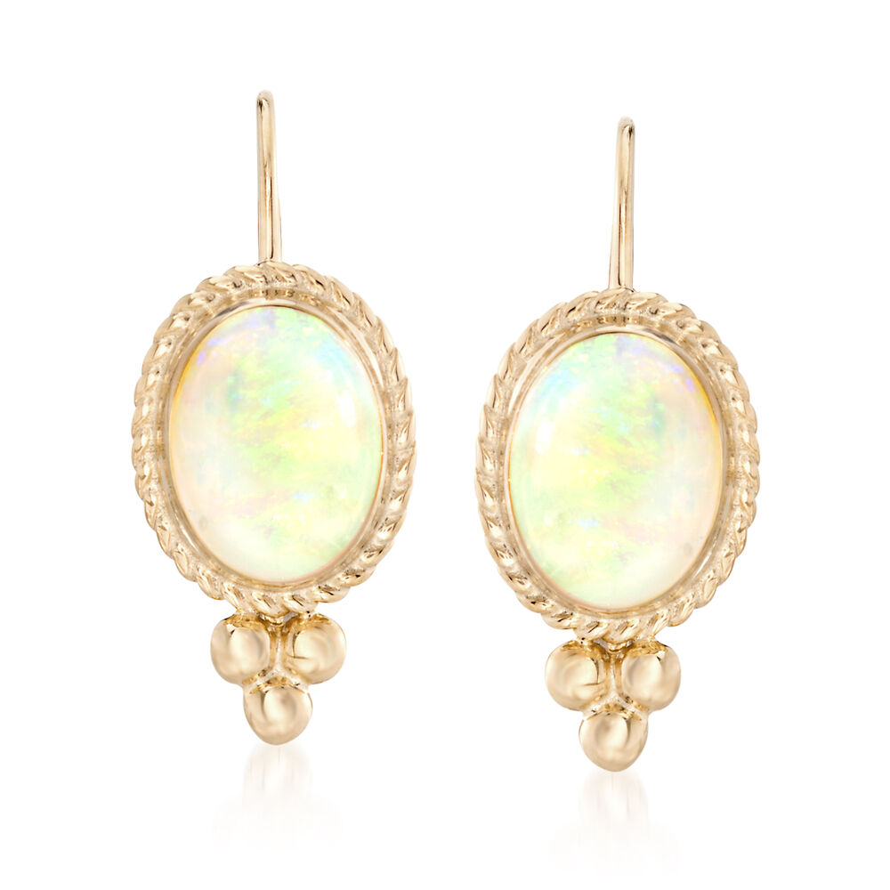 1d20a5db1 Opal Rope Edge Earrings in 14kt Yellow Gold | Ross-Simons