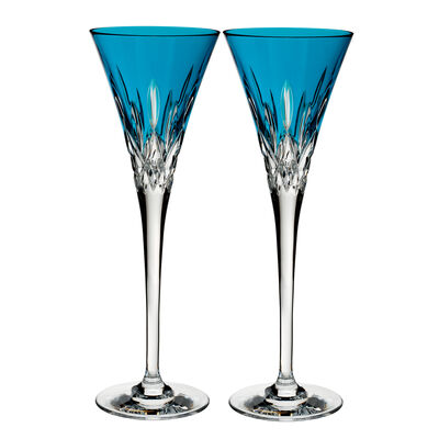 "Waterford Crystal ""Pops"" Set of 2 Lismore Aqua Flute Glasses, , default"
