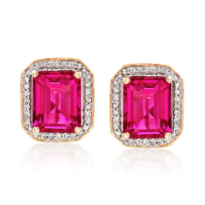 4.90 ct. t.w. Pink Topaz and .24 ct. t.w. Diamond Earrings in 14kt Yellow Gold, , default