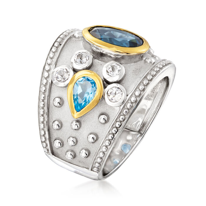 3.70 ct. t.w. Blue and White Topaz Ring in Sterling Silver with 14kt Yellow Gold