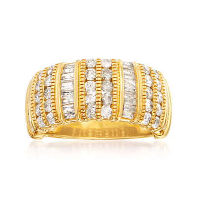 1.50 ct. t.w. Baguette and Round Diamond Ring in 18kt Gold Over Sterling