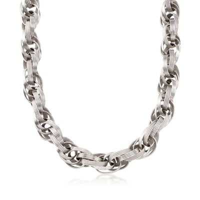 Sterling Silver Oval Multi-Link Necklace, , default
