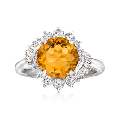 C. 1990 Vintage 3.31 Carat Citrine and .70 ct. t.w. Diamond Ring in Platinum