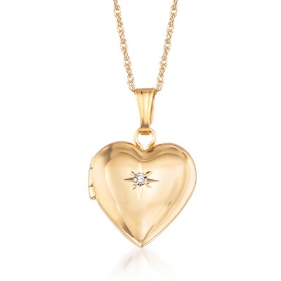 Child's 14kt Yellow Gold Small Heart Locket Necklace with Diamond Accent, , default
