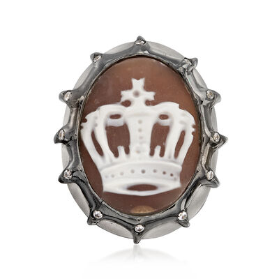 Italian .10 ct. t.w. CZ Crown Cameo Ring in Sterling Silver, , default
