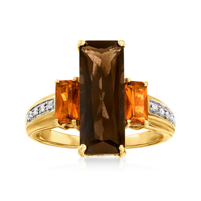 C. 1980 Vintage 3.45 Carat Smoky Quartz and .60 ct. t.w. Citrine Ring in 14kt Yellow Gold