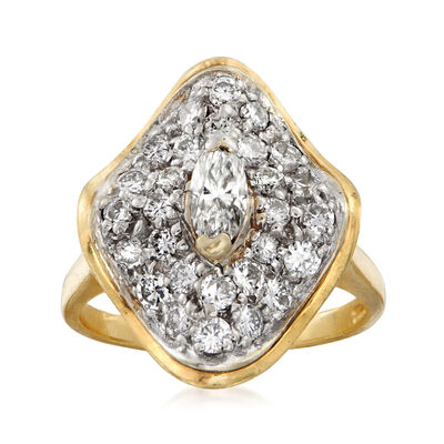 C. 1970 Vintage 1.30 ct. t.w. Diamond Cluster Ring in 14kt Yellow Gold, , default