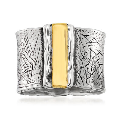 Sterling Silver with 14kt Yellow Gold Wide Ring, , default