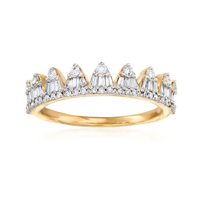 .50 ct. t.w. Round and Baguette Diamond Crown Ring in 14kt Yellow Gold