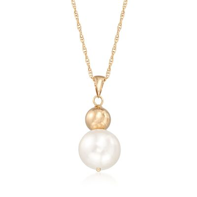 9.5-10mm Cultured Pearl Pendant Necklace in 14kt Yellow Gold, , default