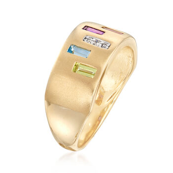 .50 ct. t.w. Multi-Gem Ring with Diamond Accents in 14kt Yellow Gold. Size 7, , default