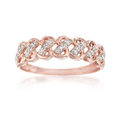 14kt Rose Gold Woven-Look Ring with Diamond Accents
