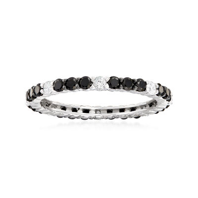 1.00 ct. t.w. Black and White Diamond Eternity Band in 14kt White Gold, , default