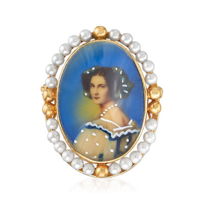 C. 1940 Vintage 2mm Cultured Pearl and Painted Woman Pin in 14kt Yellow Gold, , default