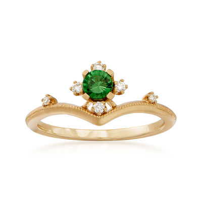 Simon G. .26 Carat Tsavorite Ring with Diamond Accents in 18kt Yellow Gold
