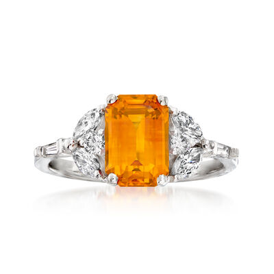 2.90 Carat Orange Sapphire and .54 ct. t.w. Diamond Ring in 18kt Two-Tone Gold