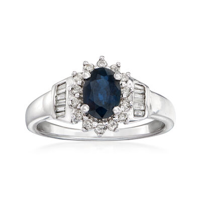 C. 2000 Vintage .90 Carat Sapphire and .38 ct. t.w. Diamond Ring in 14kt White Gold