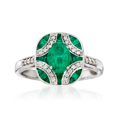 1.50 ct. t.w. Emerald and .13 ct. t.w. Diamond Ring in 14kt White Gold, , default