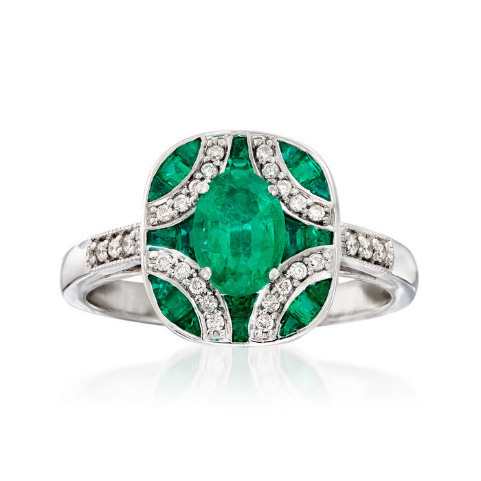 1.50 ct. t.w. Emerald and .13 ct. t.w. Diamond Ring in 14kt White Gold. Size 7
