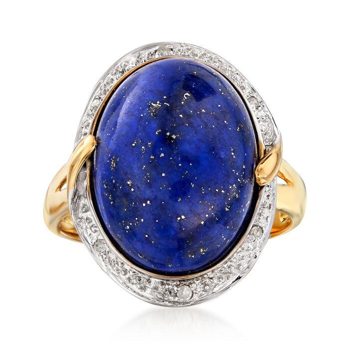 16x12mm Lapis Ring with Diamond Accents in 14kt Yellow Gold