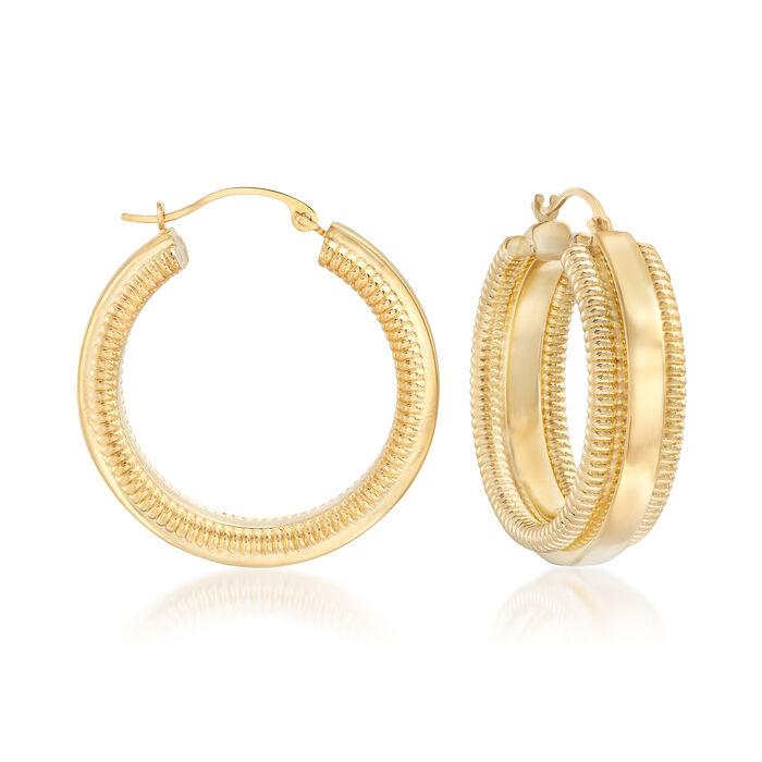 "Andiamo 14kt Yellow Gold Hoop Earrings. 1""., , default"
