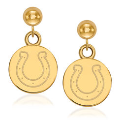 14kt Yellow Gold NFL Indianapolis Colts Dangle Ball Stud Earrings, , default