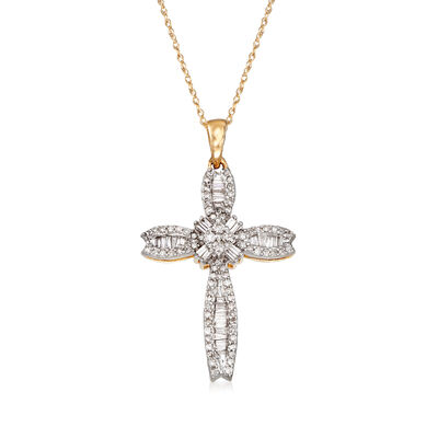 .40 ct. t.w. Baguette and Round Diamond Cross Pendant Necklace in 14kt Yellow Gold, , default
