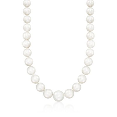 12-16mm Cultured South Sea Pearl Necklace with Diamond Accents and 14kt White Gold, , default