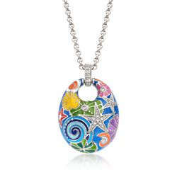 "Belle Etoile ""Starfish"" Blue and Multicolored Enamel Pendant With CZs in Sterling Silver, , default"