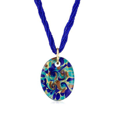 Italian Multicolored Murano Glass Pendant Necklace in 18kt Gold Over Sterling