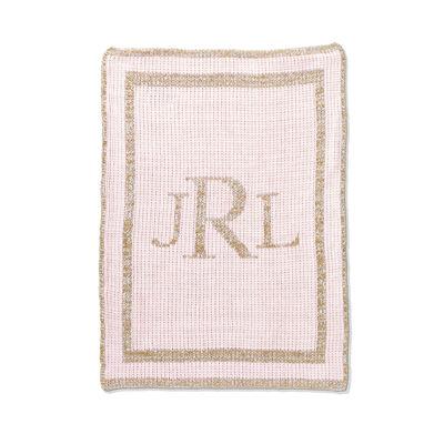 Child's Butterscotch Blankees Personalized Metallic Classic Monogram Blanket, , default