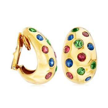 "C. 1990 Vintage Jean Viteau 3.40 ct. t.w. Multi-Gemstone Clip-On Hoop Earrings in 18kt Yellow Gold. 3/4"""