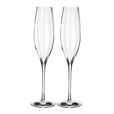 "Waterford Crystal ""Elegance Optic"" Set of Two Champagne Flutes"