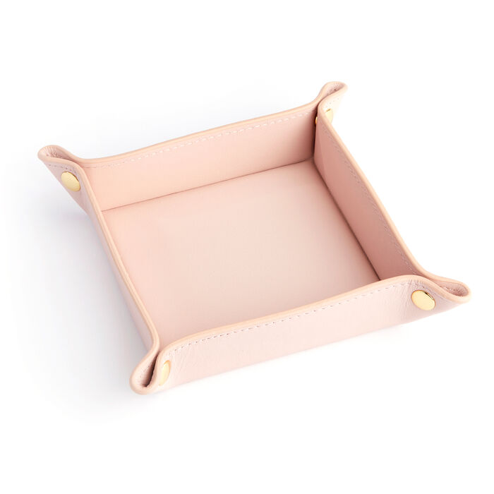 Royce Blush Pink Leather Valet Tray, , default