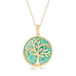 Teal Amazonite Tree of Life Pendant Necklace in 14kt Yellow Gold, , default