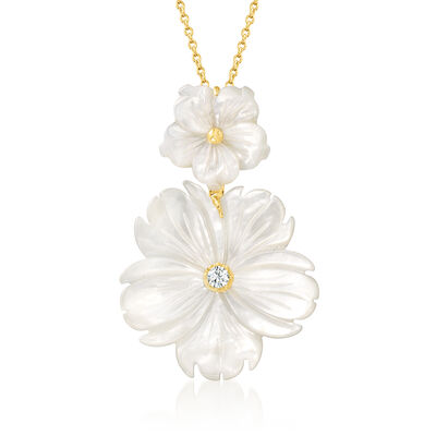 Mother-Of-Pearl and .10 Carat White Topaz Flower Pendant Necklace in 18kt Gold Over Sterling